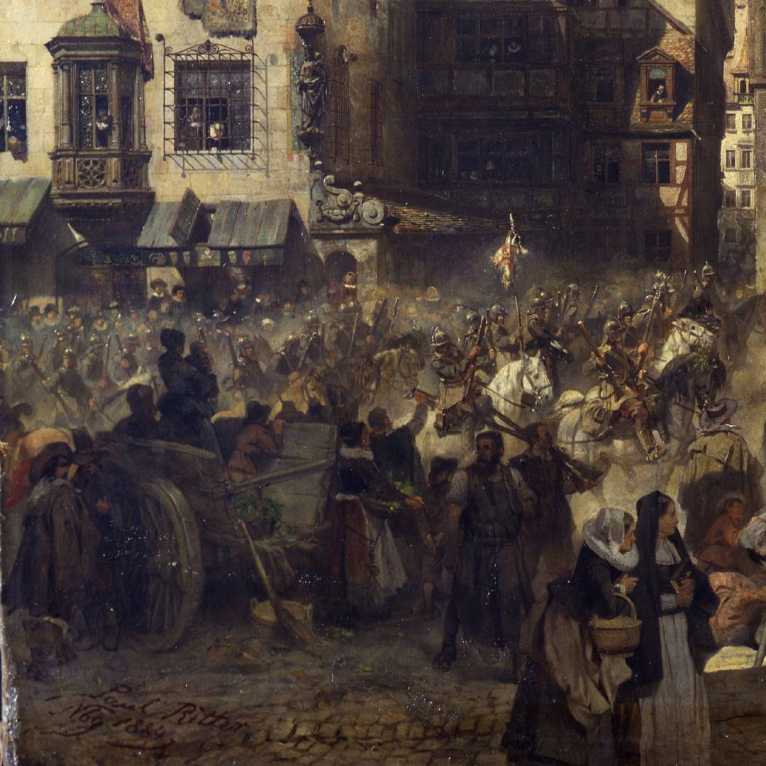 The old show at Nuremberg at the time of Gustav Adolf's entry on 21 March 1632. Lower left part of the picture with the artist's signature
