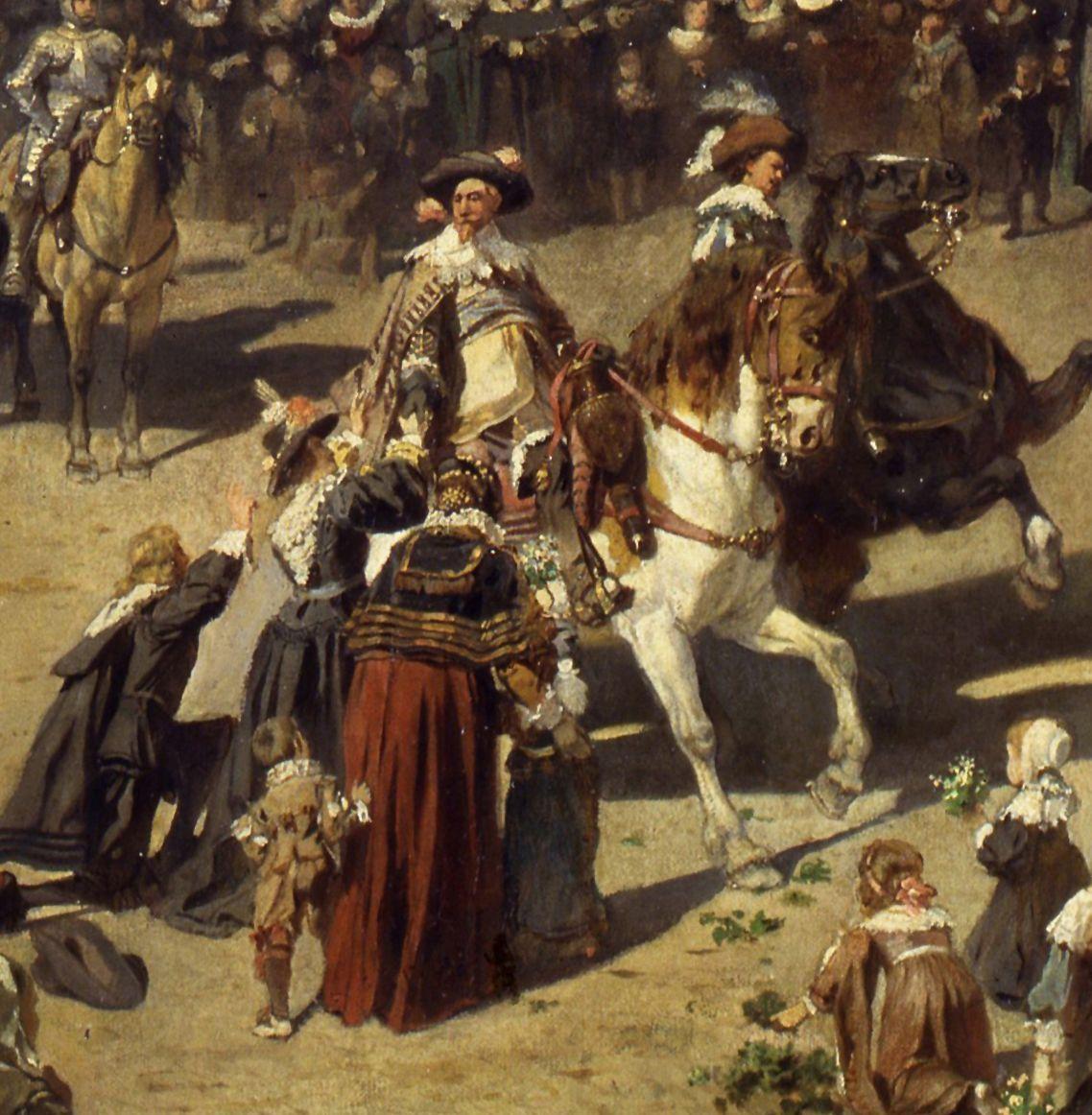 The old show at Nuremberg at the time of Gustav Adolf's entry on 21 March 1632. Gustav Adolf on horseback