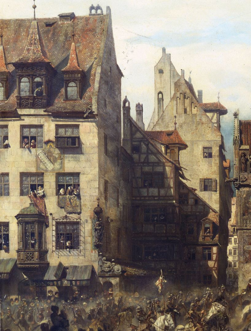The old show at Nuremberg at the time of Gustav Adolf's entry on 21 March 1632. View of the school alley (Schulgasse)