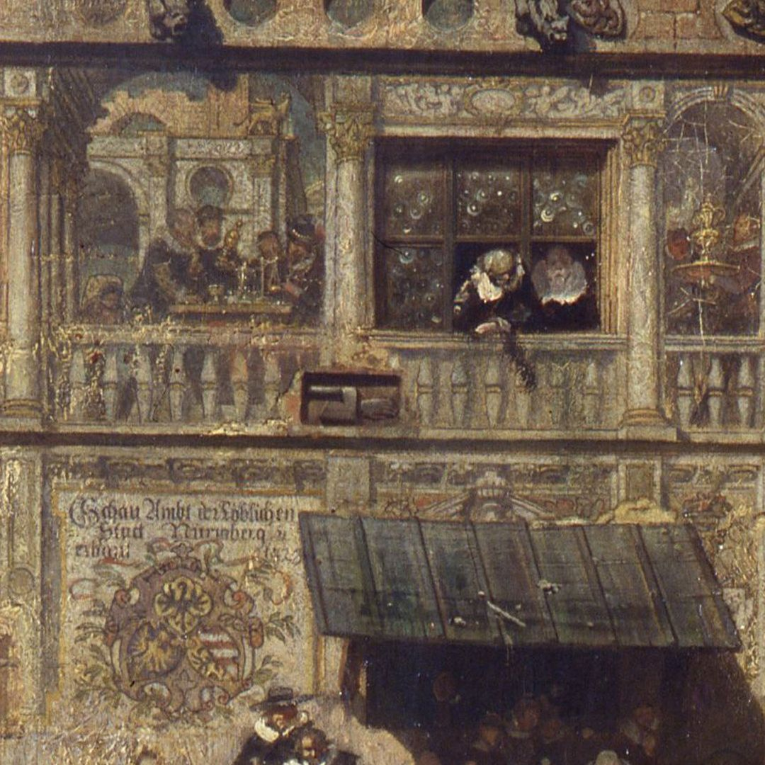 The old show at Nuremberg at the time of Gustav Adolf's entry on 21 March 1632. The old show, an official institution for the examination of precious metals, top left detail in the wall panel with gold scales, which were needed to determine the fineness of goldsmith's work, here of two goblets and a cup.