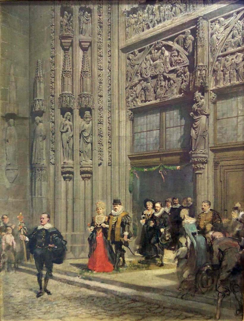 The main portal of the Lorenzkirche with bridal procession in the costume of the 30 Years' War