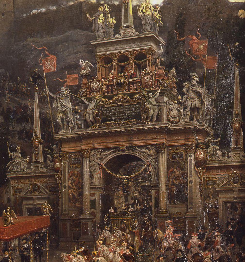 Exodus of Emperor Matthias from Nuremberg 1612 Temporary gate of honour for the emperor