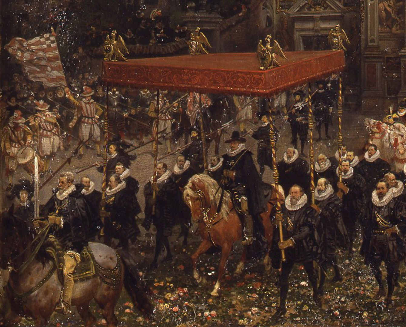 Exodus of Emperor Matthias from Nuremberg 1612 The Emperor on horseback under a canopy carried by patricians