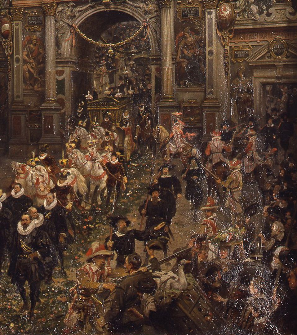 Exodus of Emperor Matthias from Nuremberg 1612 Procession and crowd
