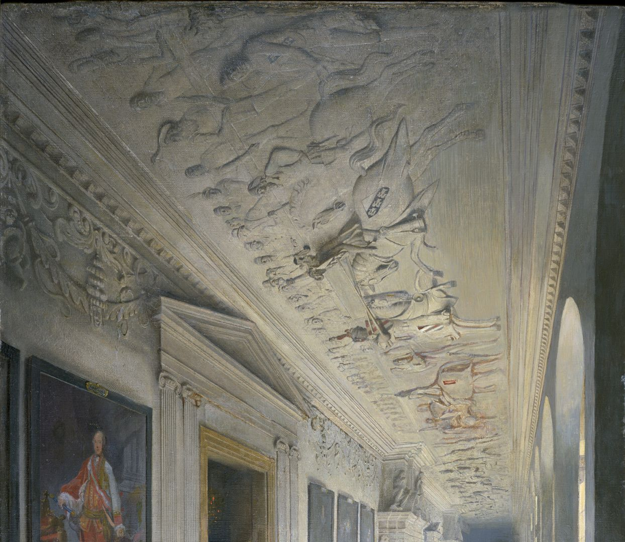 """70th birthday Karl Crämer Upper part with the """"Gesellenstechen"""", stucco ceiling from 1621 by the brothers Heinrich and Hans Kuhn"""