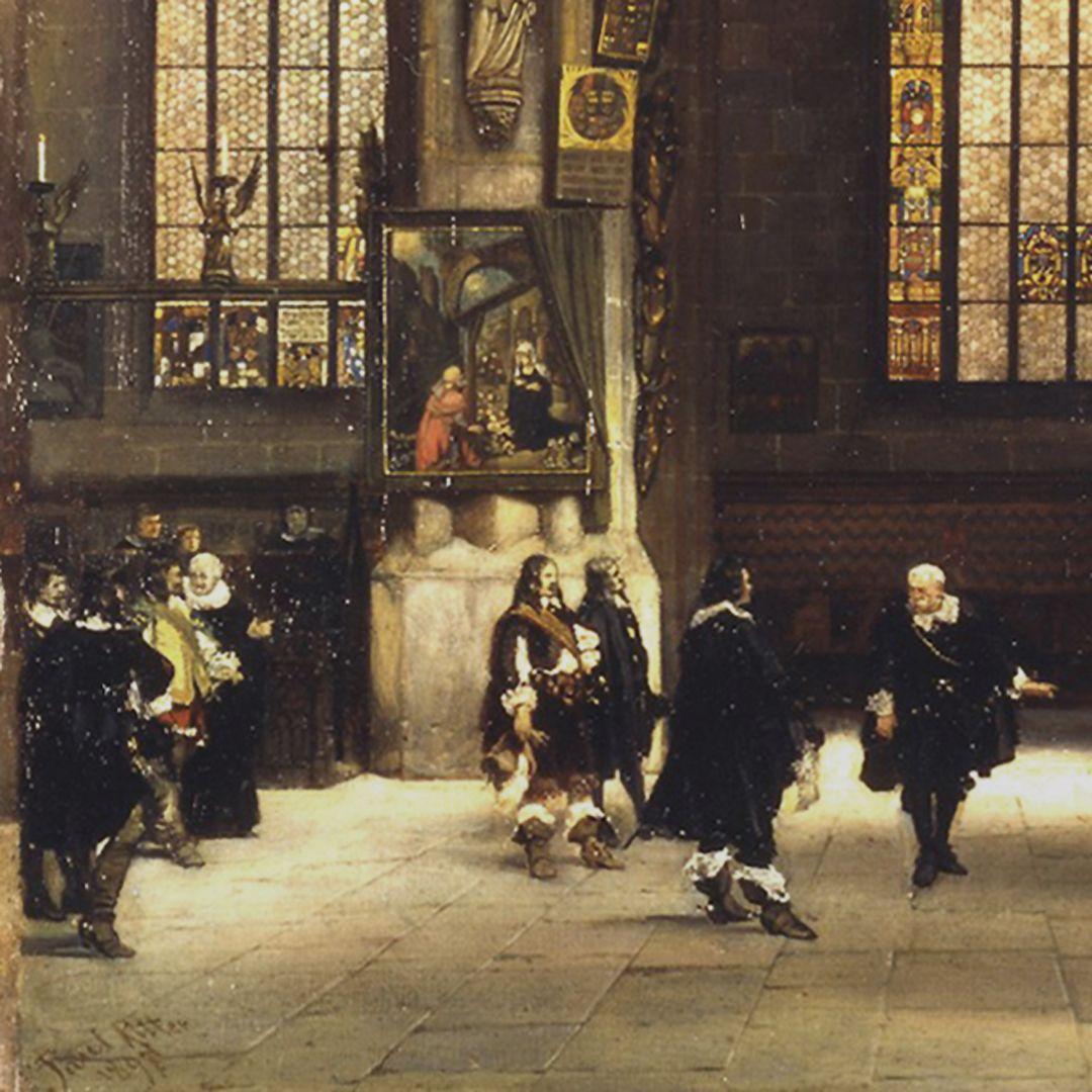 The Sacrament House (Tabernacle) by Adam Kraft in the Lorenzkirche Field marshal Ottavio Piccolomini with his entourage