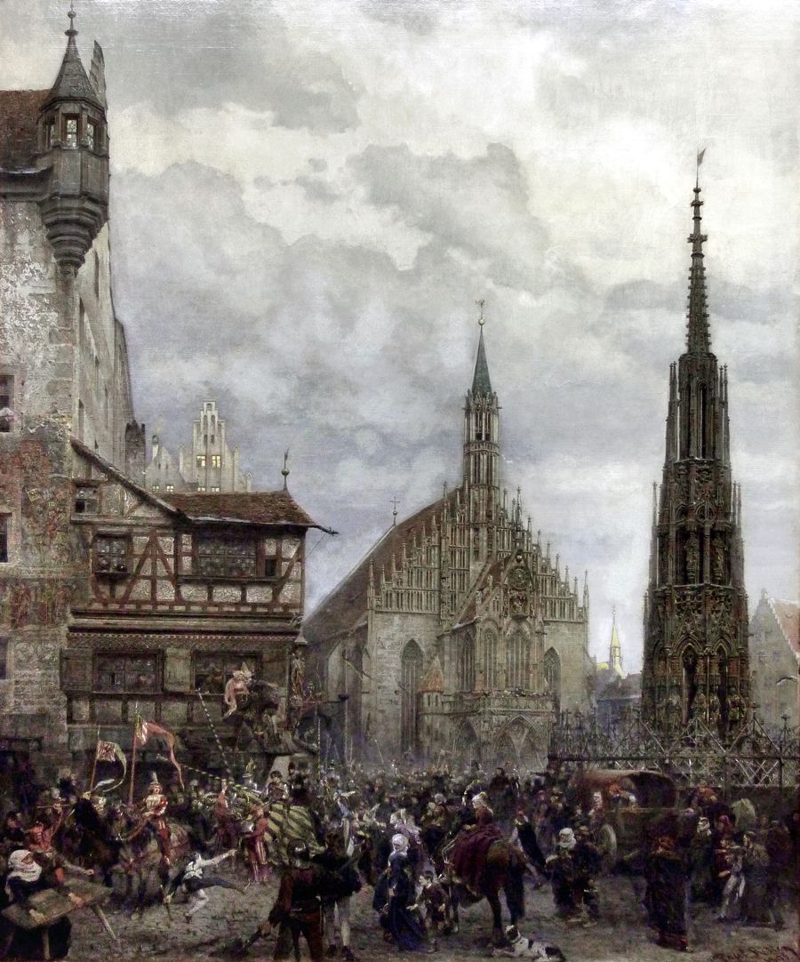 The Market Place in Nuremberg at the time of the tournament of 1496 Total view