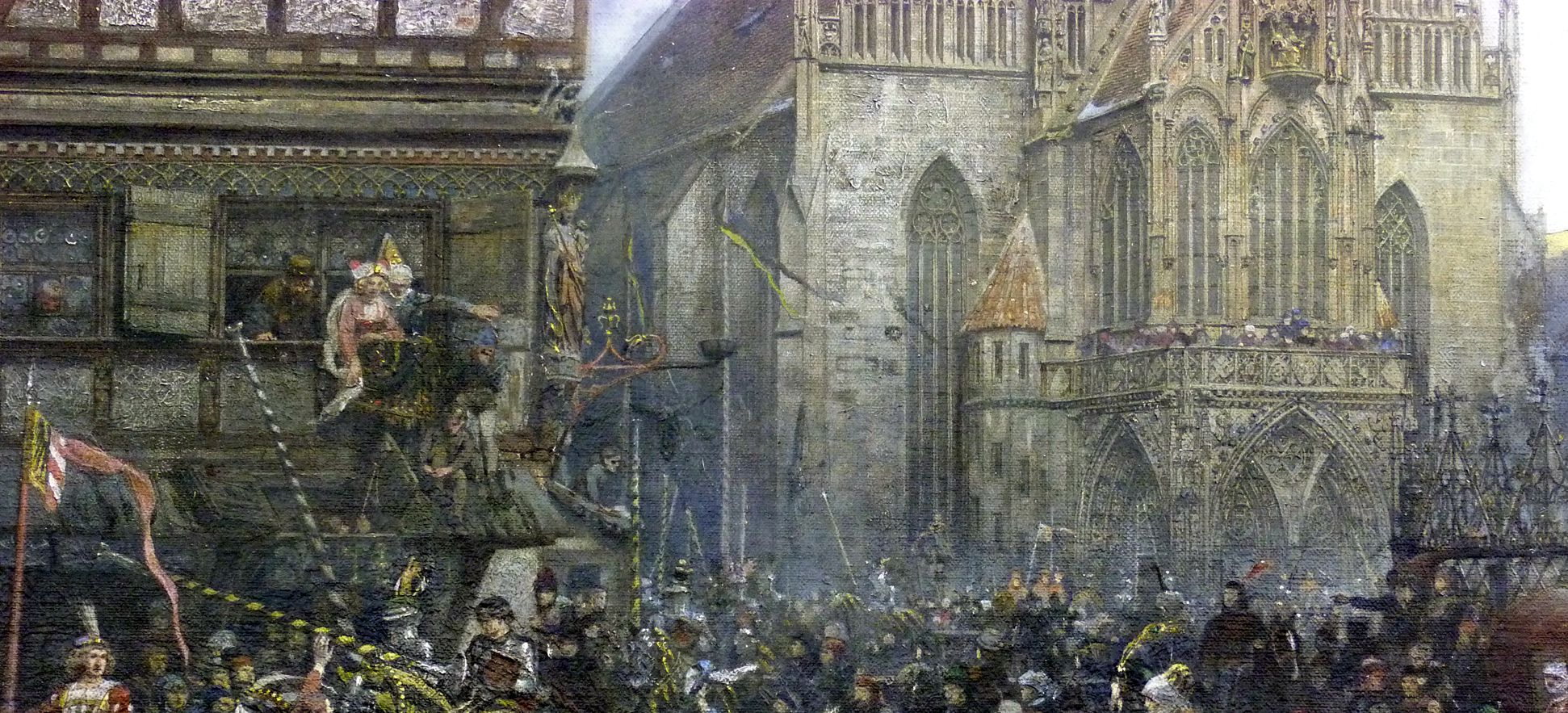 The Market Place in Nuremberg at the time of the tournament of 1496 Procession of the tournament knights, onlookers