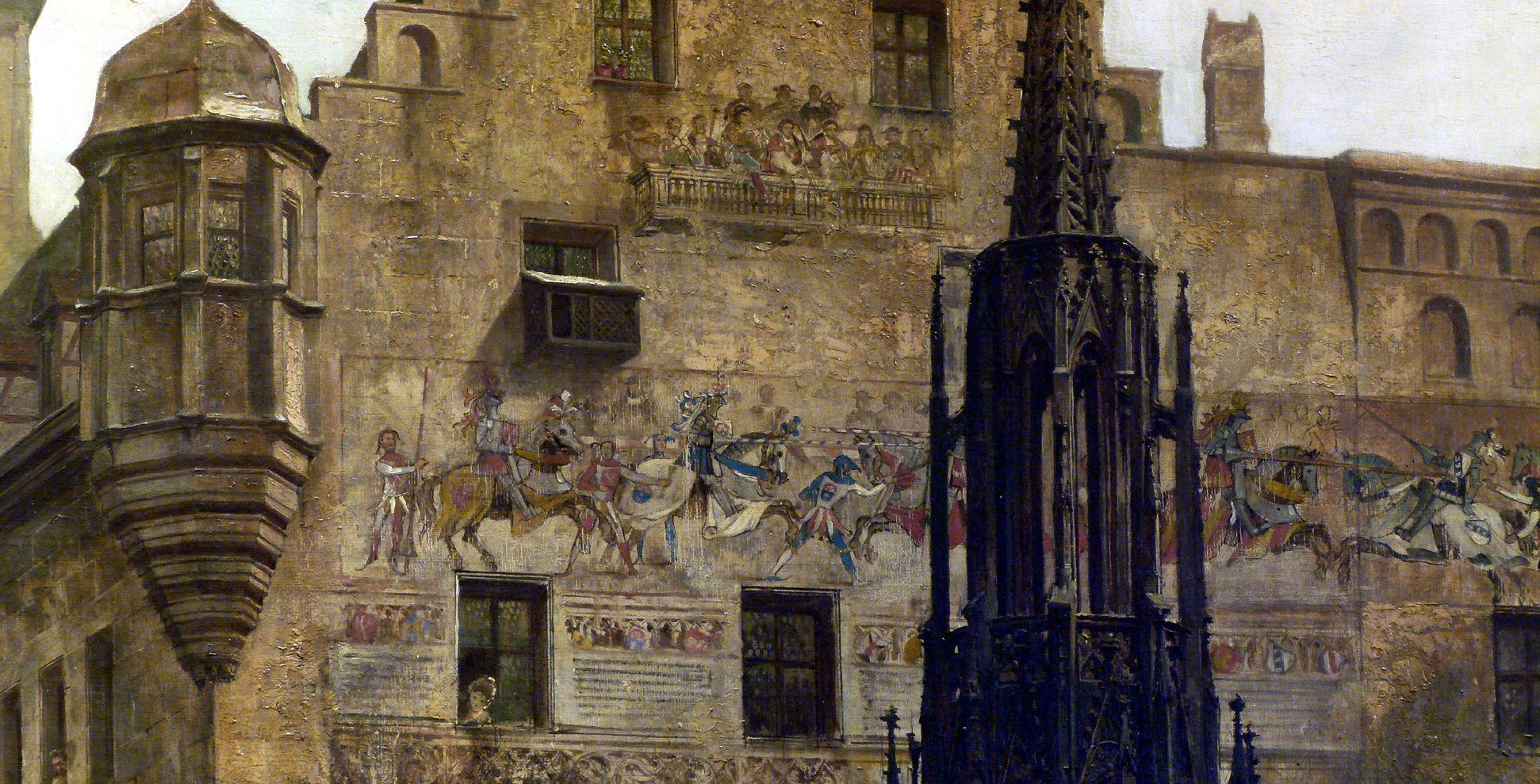 Main Market with view into Burgstraße Façade fresco paintings