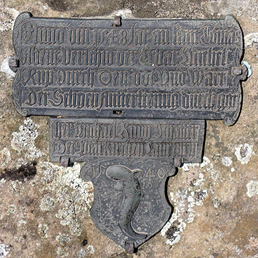 Rochus Cemetery Gravesite 209 Historical epitaph of Michael Rupp, Schaffer bei St. Lorenz, 1540, d. 21.12.1548