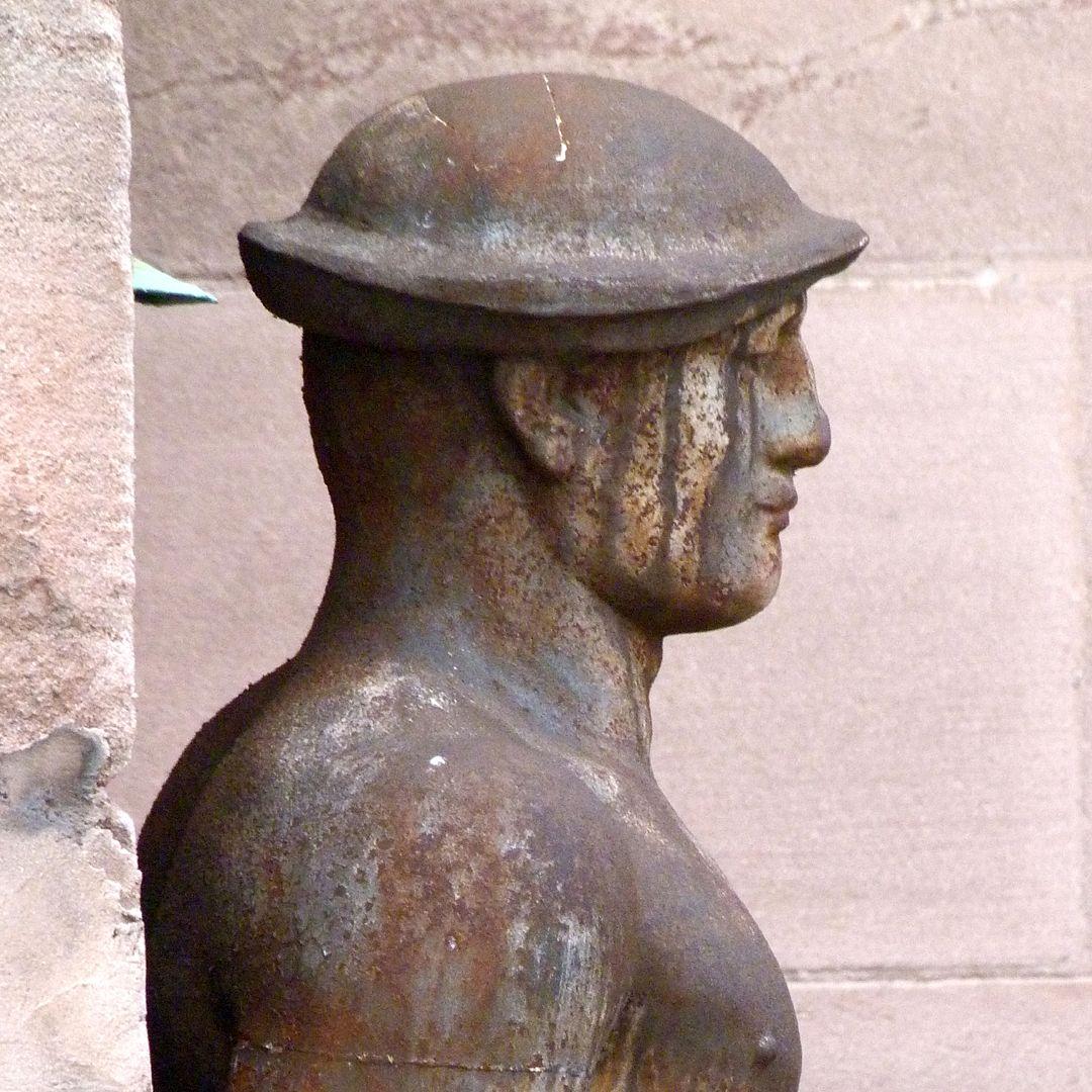 Worker at the former job center rechtes Profil, Kopf und Schulter