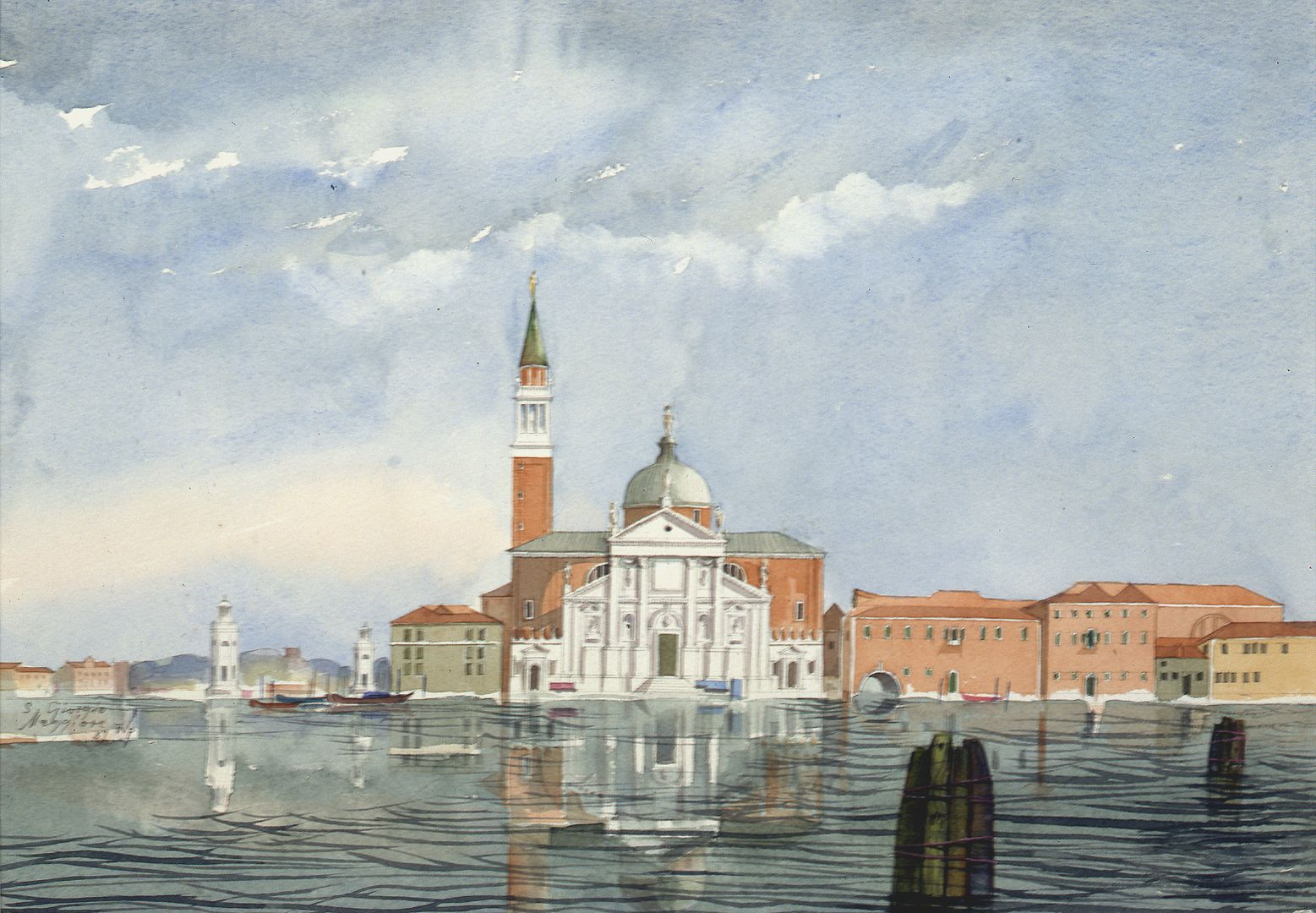 San Giorgio Maggiore (Venice) Situation on the bank with church building by Andrea Palladio, on the left harbor entrance of the island