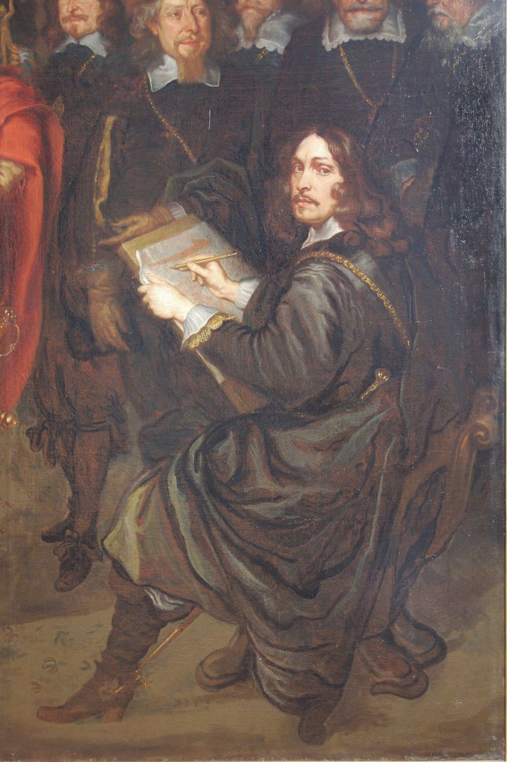 The Peace Banquet in the Great Hall of the Nuremberg Town Hall on 25.9.1649 Detail with self-portrait of the artist