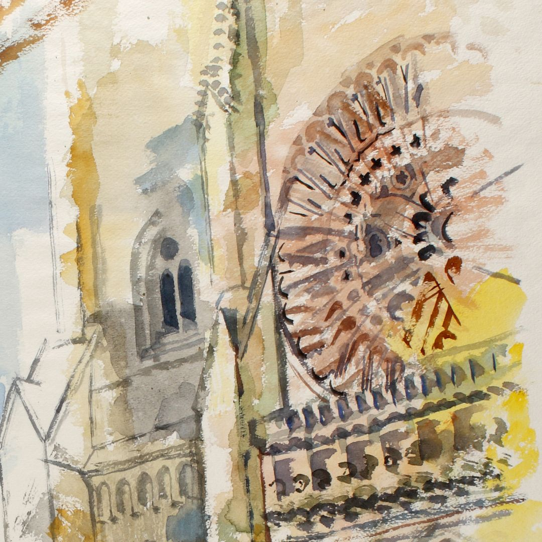 Sankt Lorenz Detail ith rose window