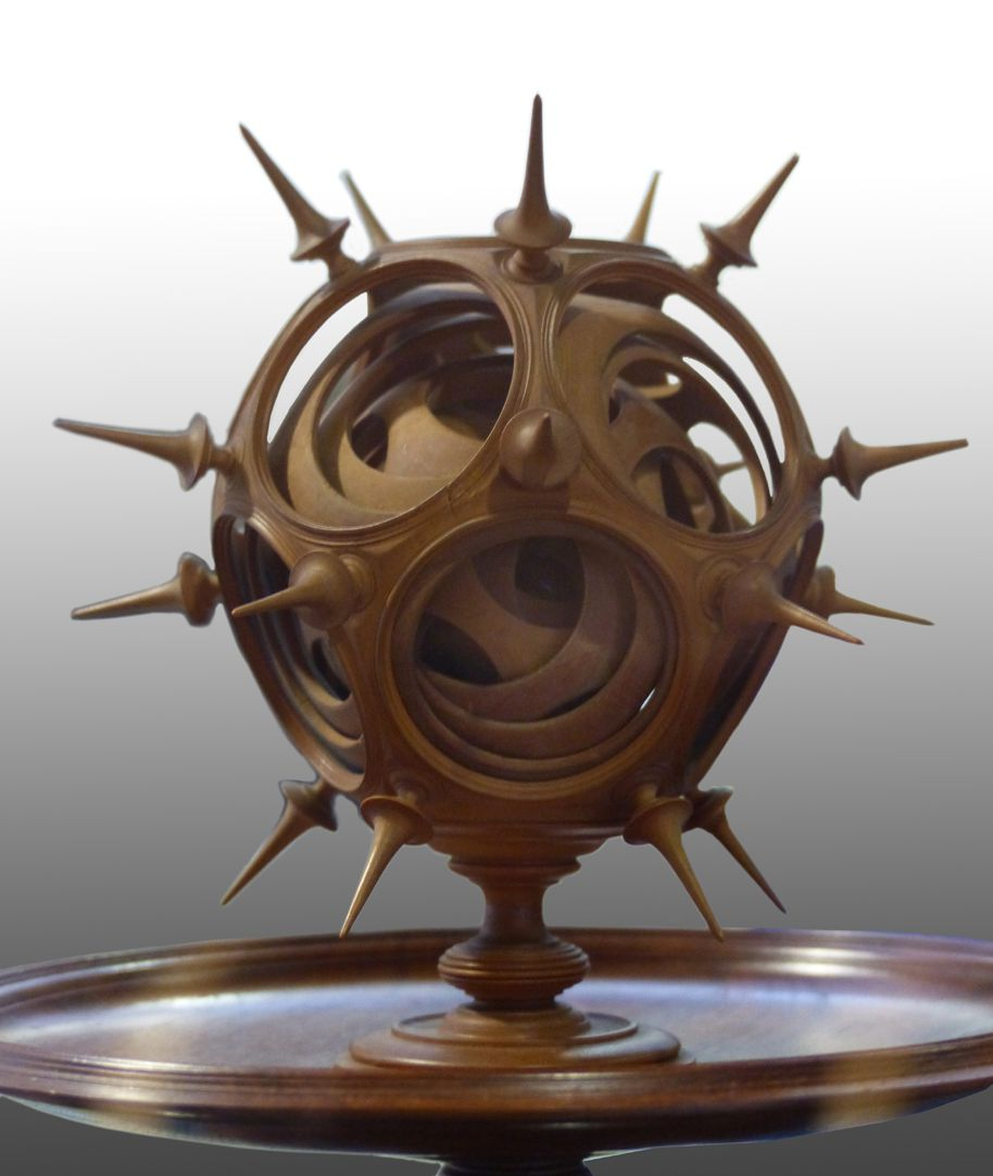 Sphere on a bowl, twelvefold turned into one another Sphere