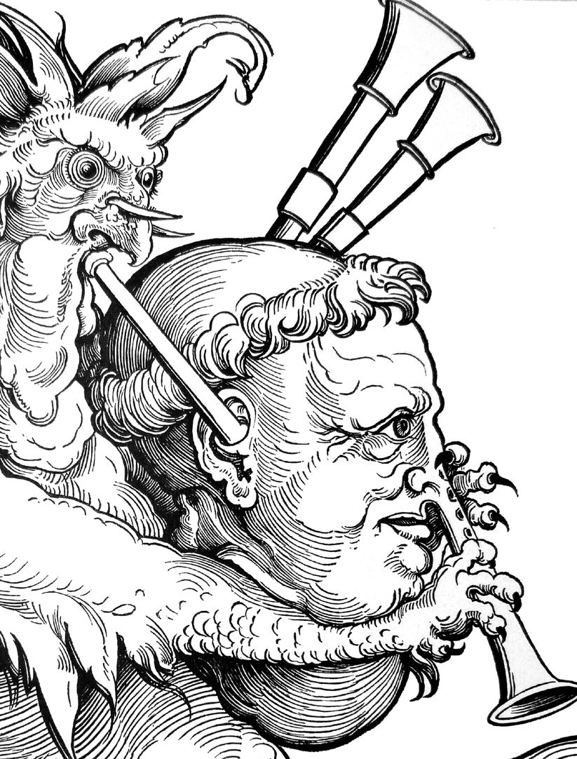 The devil with the bagpipe Detail
