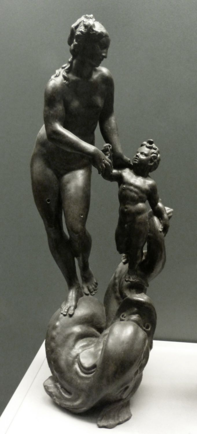 Venus and Putto, standing on a sea creature Total view