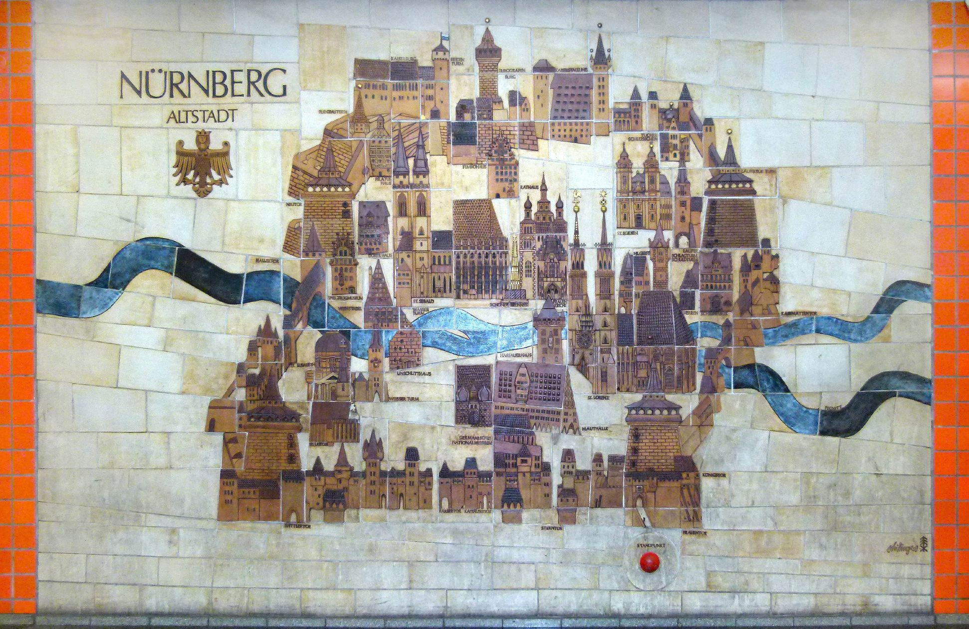 Ceramic relief of the Nuremberg Old City Total view