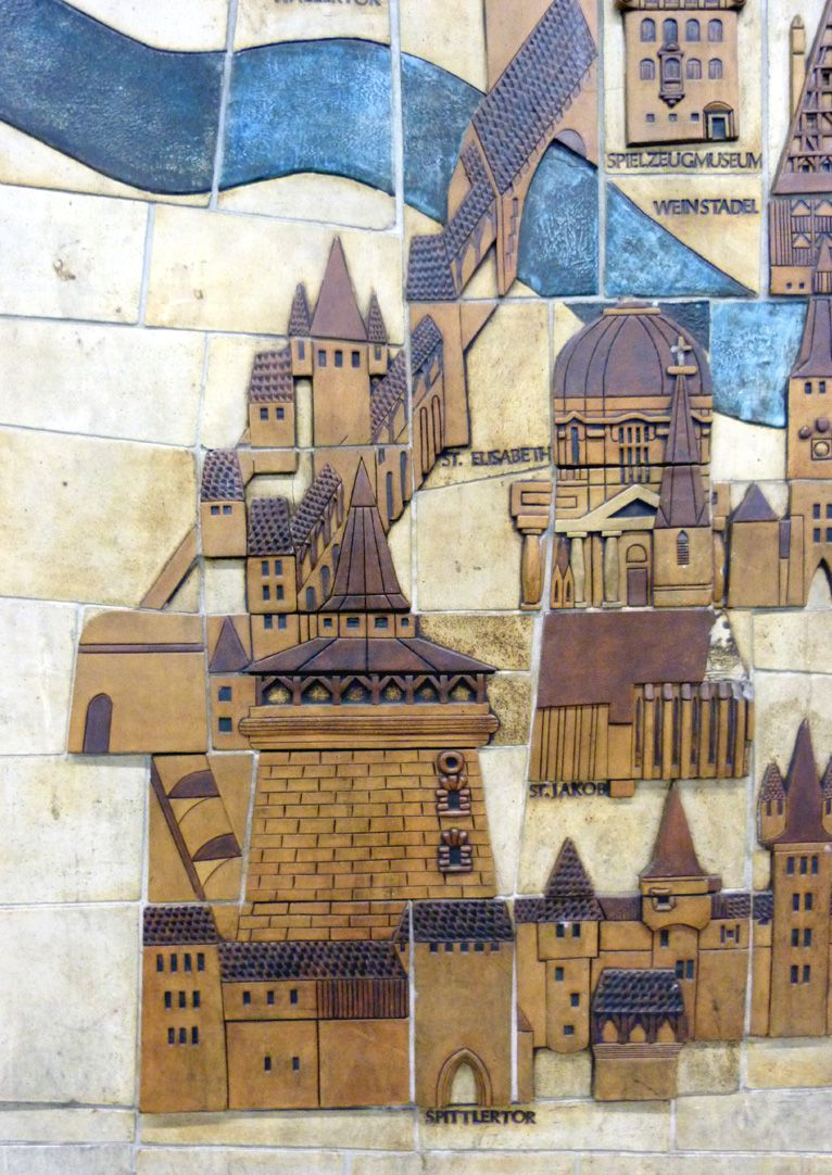 Ceramic relief of the Nuremberg Old City Detail: West part of the Lorenz quarter of the Old City
