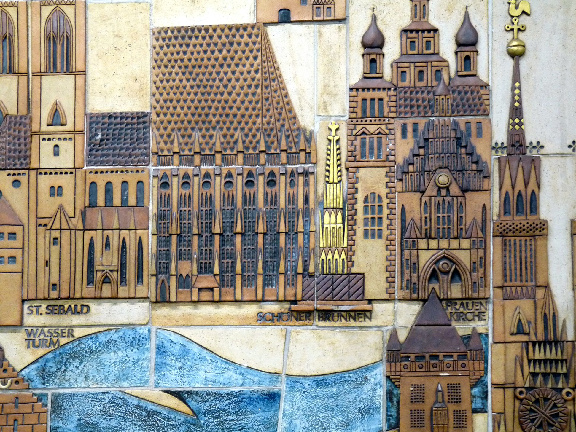 Ceramic relief of the Nuremberg Old City Detail: Heart of the Old City