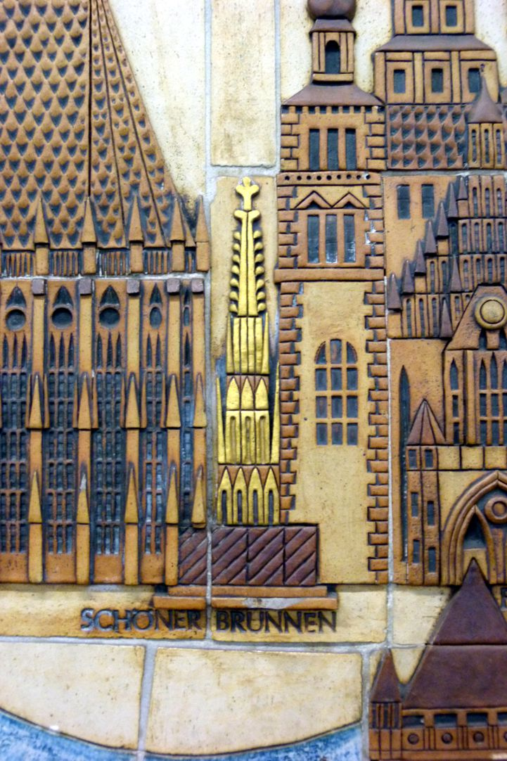 Ceramic relief of the Nuremberg Old City Detail: Beautiful Fountain