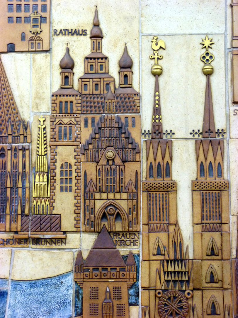 Ceramic relief of the Nuremberg Old City Detail: Nassau House St. Lorenz and Our Lady´s Church, City Hall