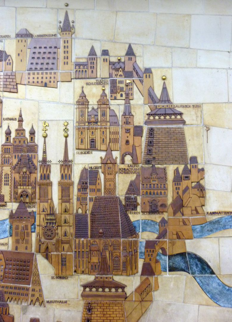 Ceramic relief of the Nuremberg Old City Detail: East part of the Old City