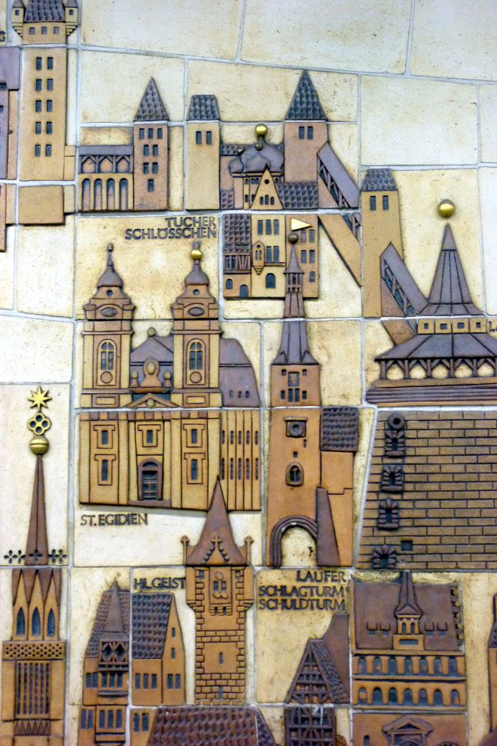 Ceramic relief of the Nuremberg Old City Detail with Egidien Hill