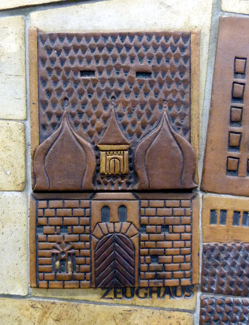 Ceramic relief of the Nuremberg Old City Detail: Zeughaus, main building (police station)