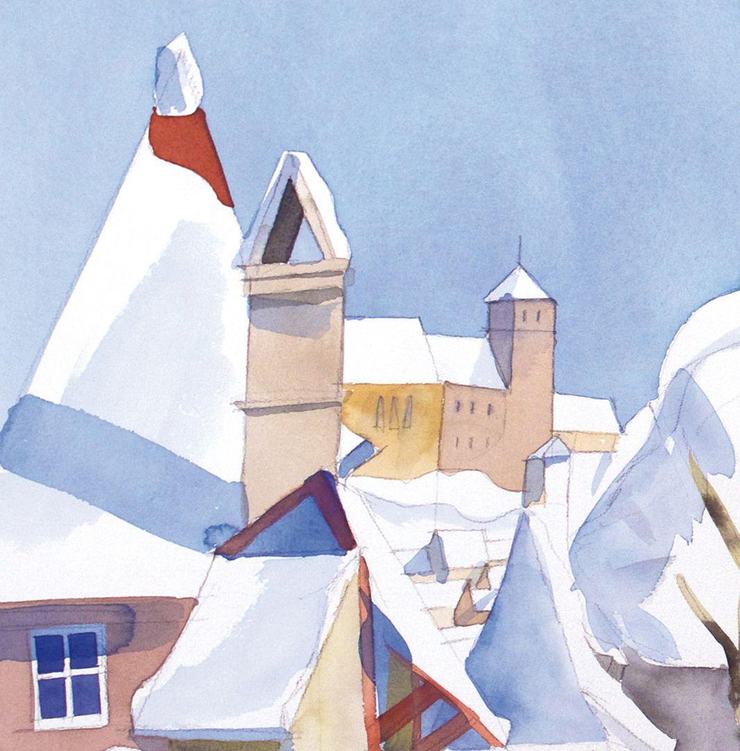 Spittler-Gate-Wall (Spittler-Tor-Mauer) Roofscape in winter