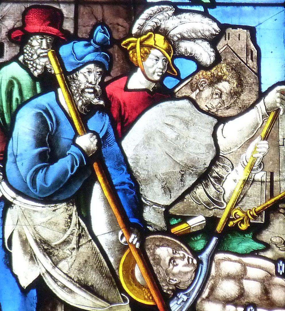 Schmidmayer-Fenster Martyrium, Detail, ein Scherge hält den Kopf des Heiligen am Rost fest.