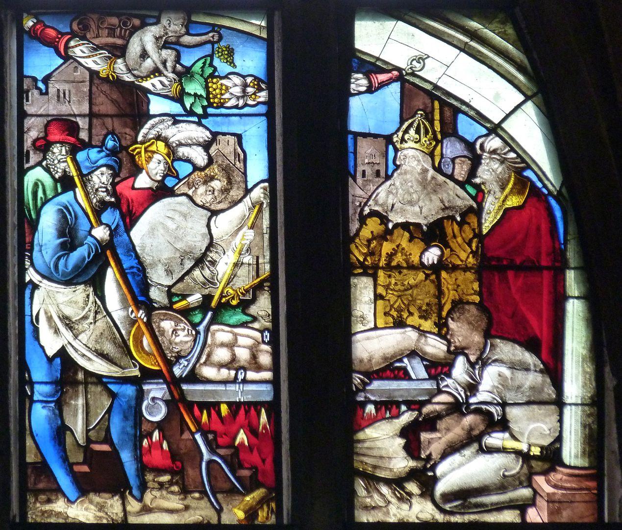 Schmidmayer-Fenster Obere Reihe, fünftes und sechstes Feld: einheitliche Szene des Martyriums des heiligen Lorenz nach einer Zeichnung Dürers ausgeführt (heute in Berlin)