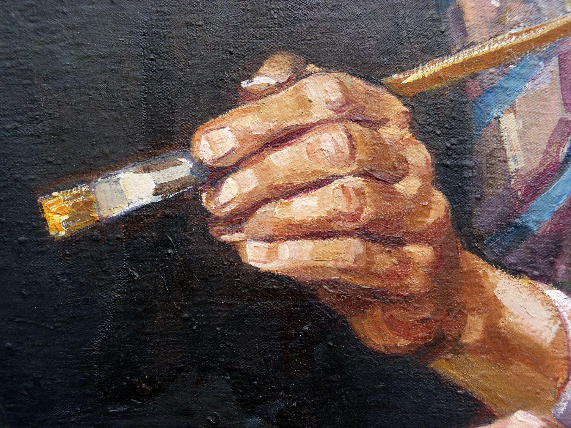 Self-portrait, Hermann Thomas Schmidt Detail: Hand