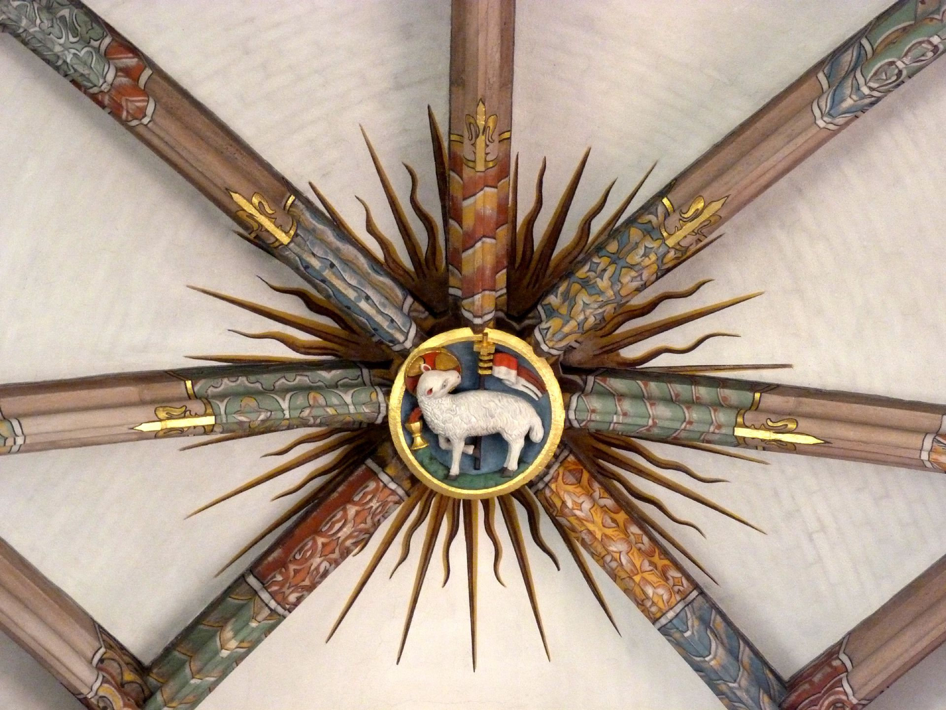 St. Peter Church Choir vault, keystone with Lamb of God
