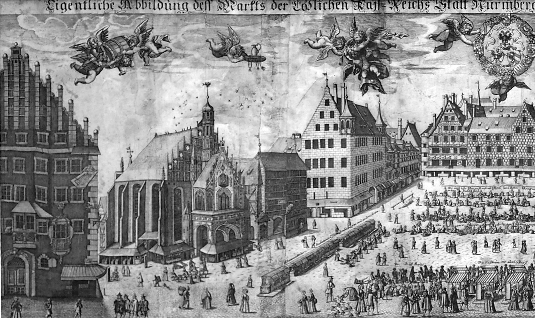 Real image of the market of the Imperial City of Nuremberg in detail Left half of the picture