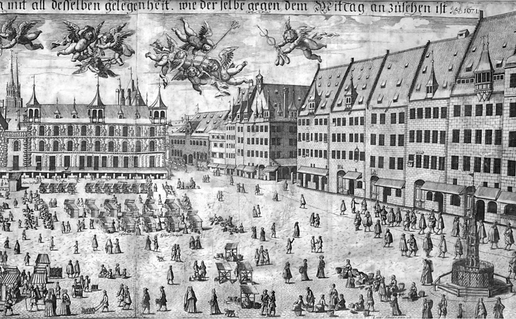 Real image of the market of the Imperial City of Nuremberg in detail Right half of the picture