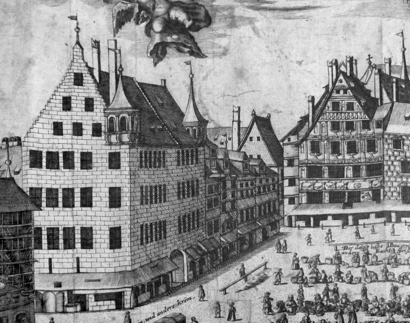 Real image of the market of the Imperial City of Nuremberg in detail South east market corner