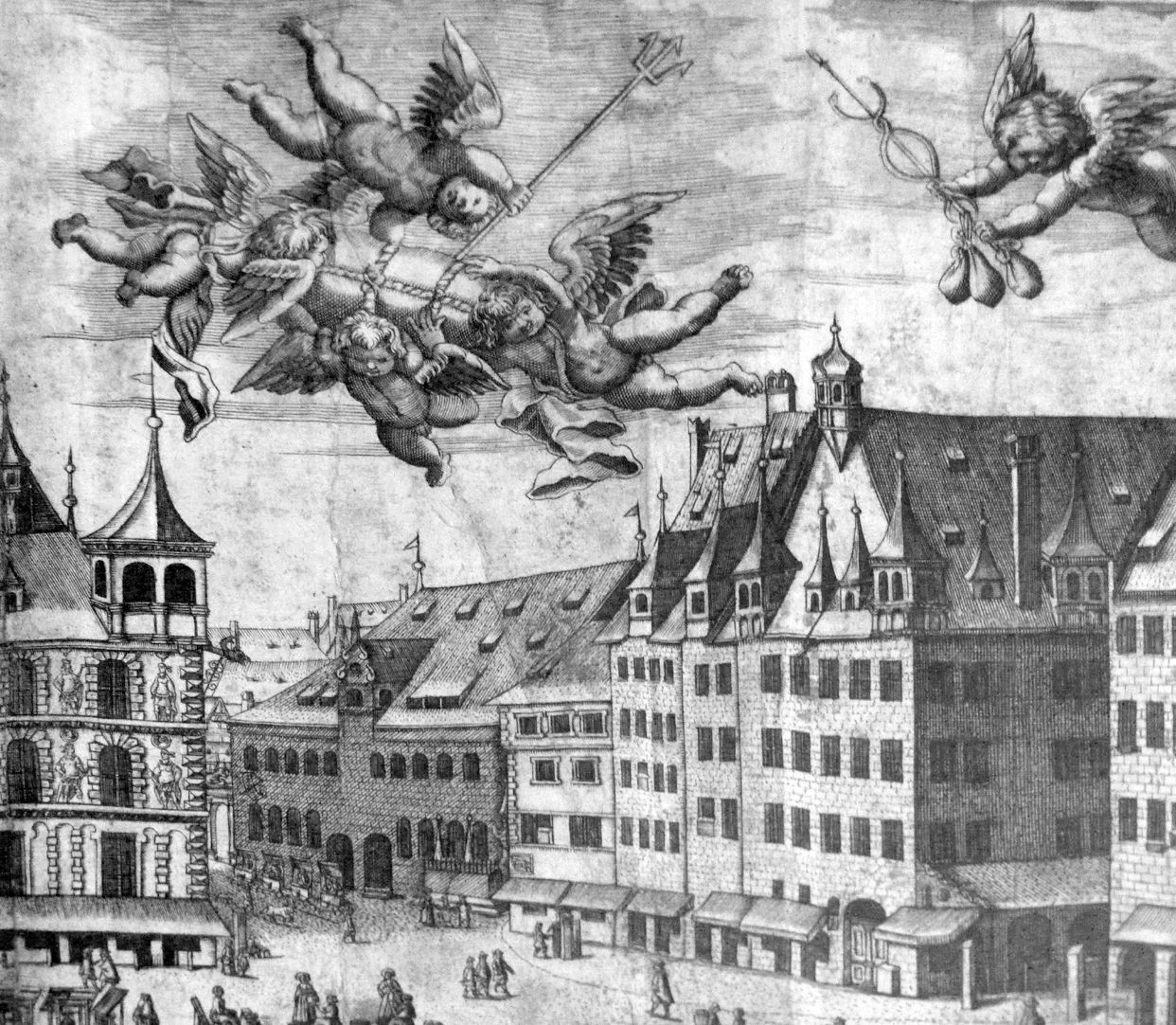 Real image of the market of the Imperial City of Nuremberg in detail South west market corner and butchery