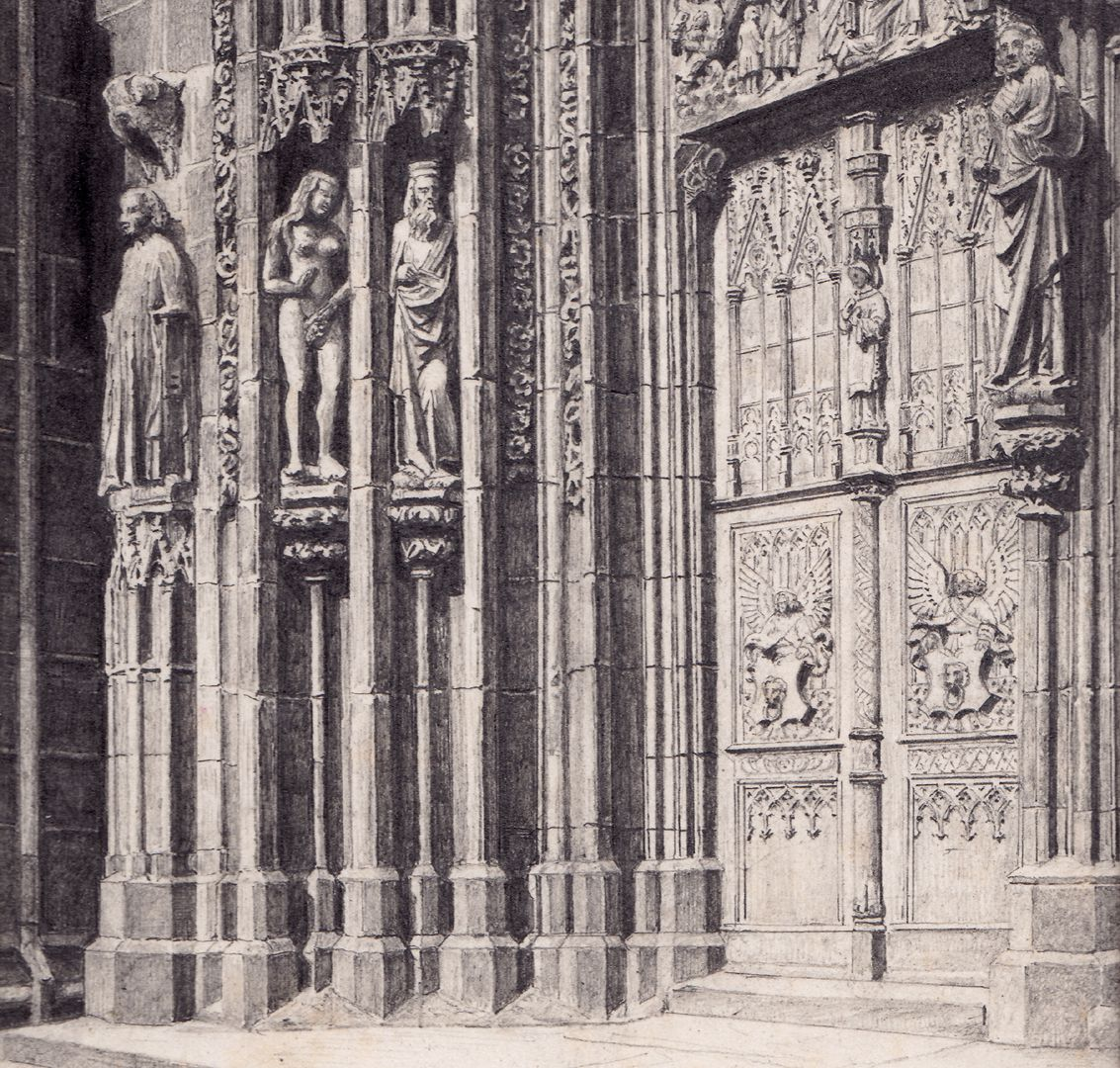 North door of the main portal of St. Lorenz Church Detail