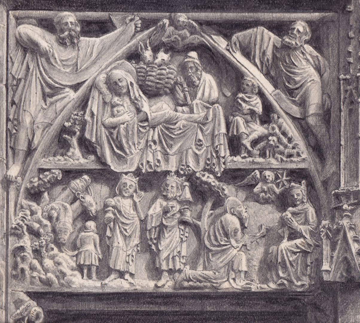 Tympanum register of the main portal of St. Lorenz Church Detail of the north half