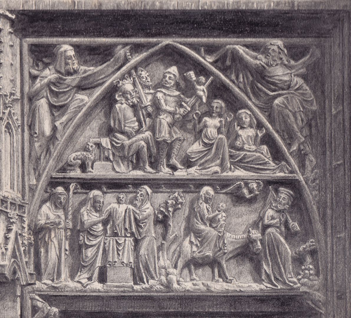 Tympanum register of the main portal of St. Lorenz Church Detail of the south half