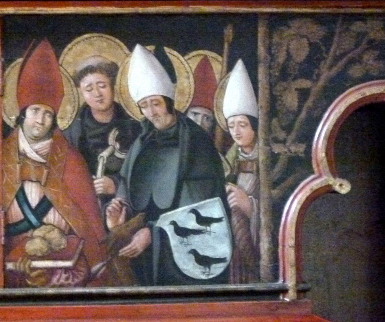 Sebaldus  Altar Predella, Vierergruppe der Nothelfer mit dem Wappen der Margarethe Kammermeister
