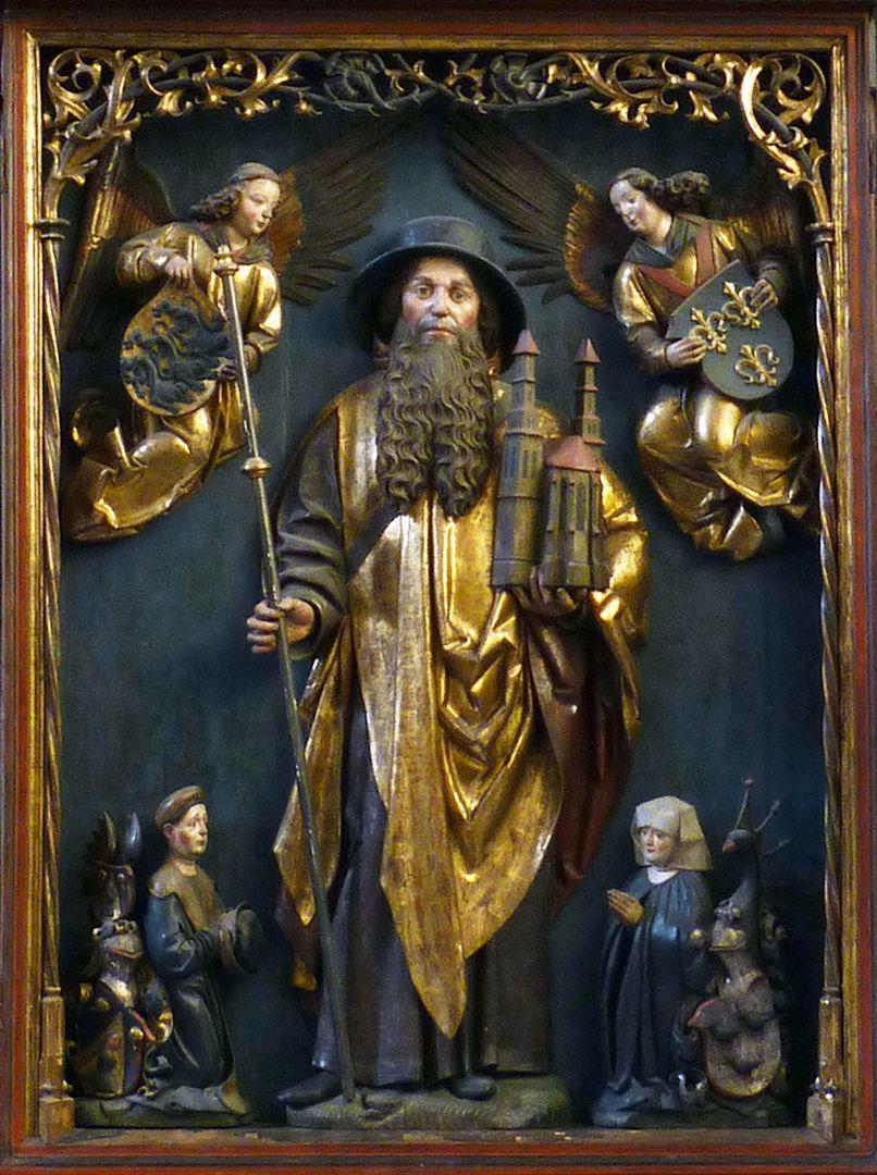 Sebaldus  Altar Schrein mit dem hl. Sebald, zwei Engel mit dem Wappen des Heiligen (rechts Dänemark) und dem Stifterpaar mit Wappen