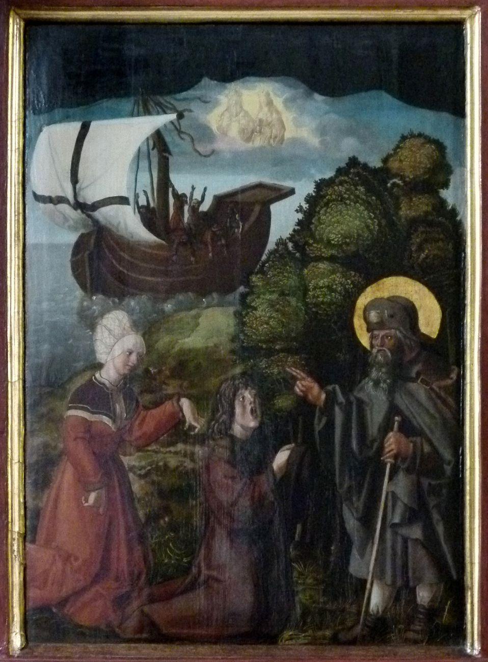 Sebaldus  Altar rechter Flügel, innen oben, Heilung eines Fallsüchtigen und einer Frau mit verkrüppelter Hand