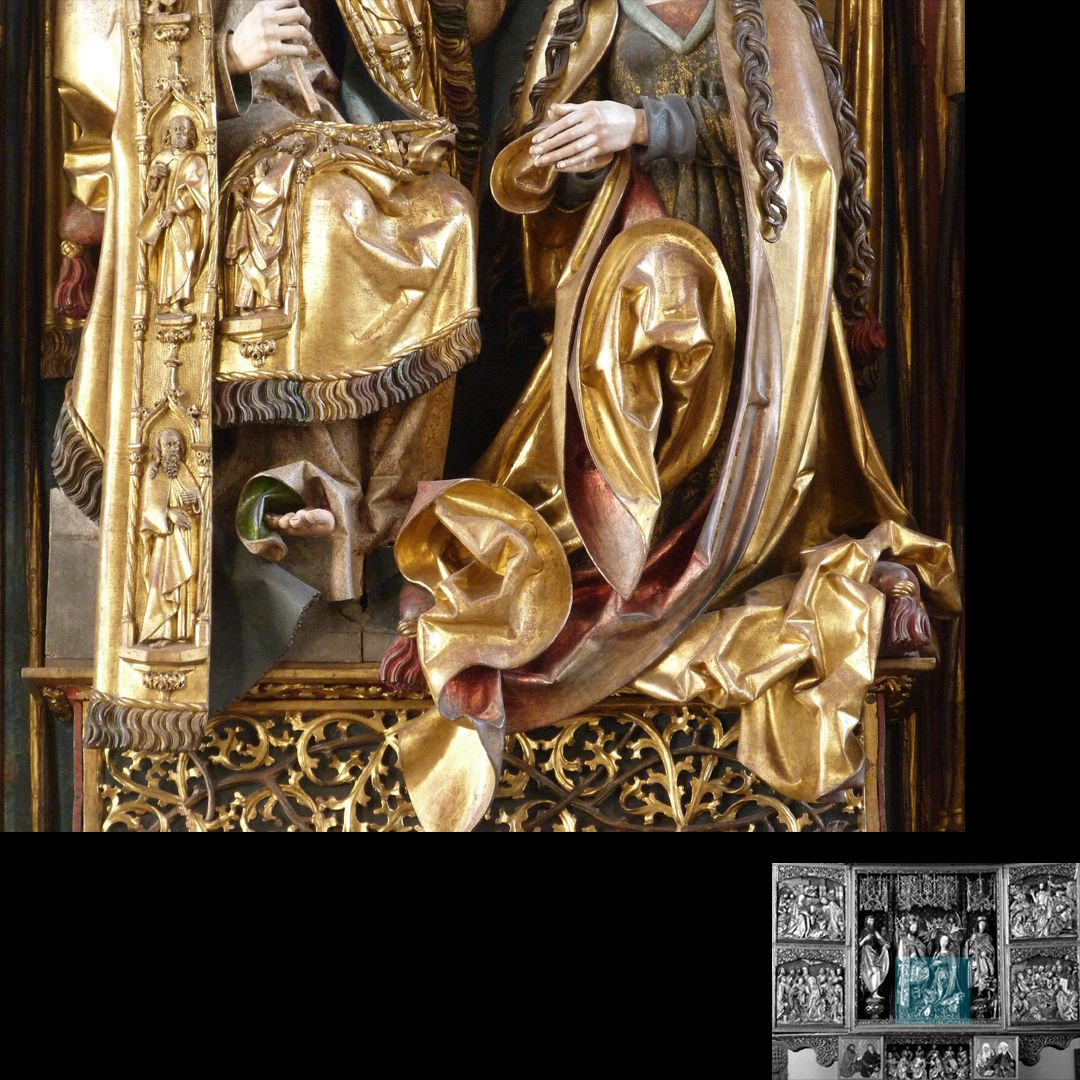 High Altar (Schwabach) Detail of Christ´s clothes and ear-shaped fold of the cloak of Mary