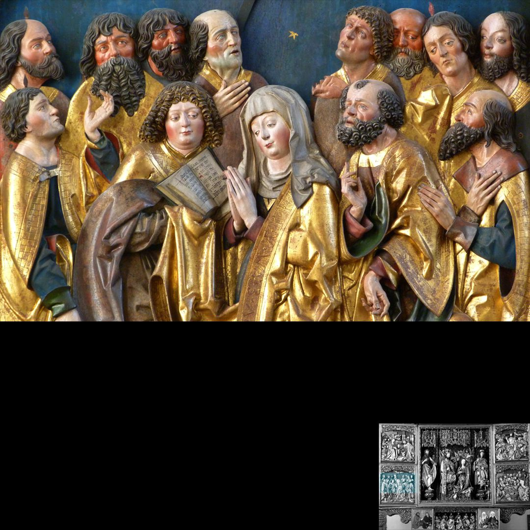 High Altar (Schwabach) Left wing, bottom, Pentecostal miracle, detail