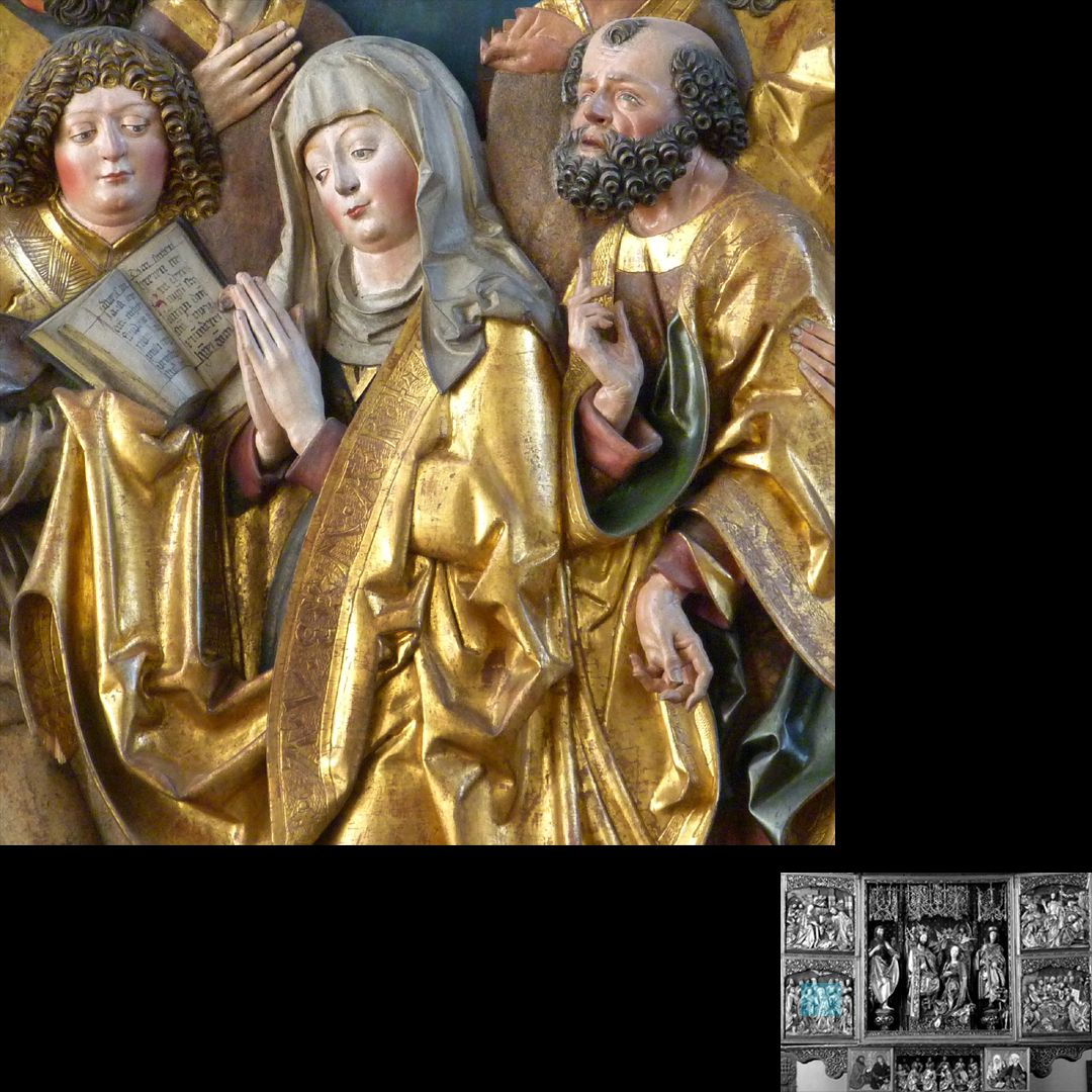 High Altar (Schwabach) Left wing, bottom, Pentecostal miracle, Mary between John and Peter