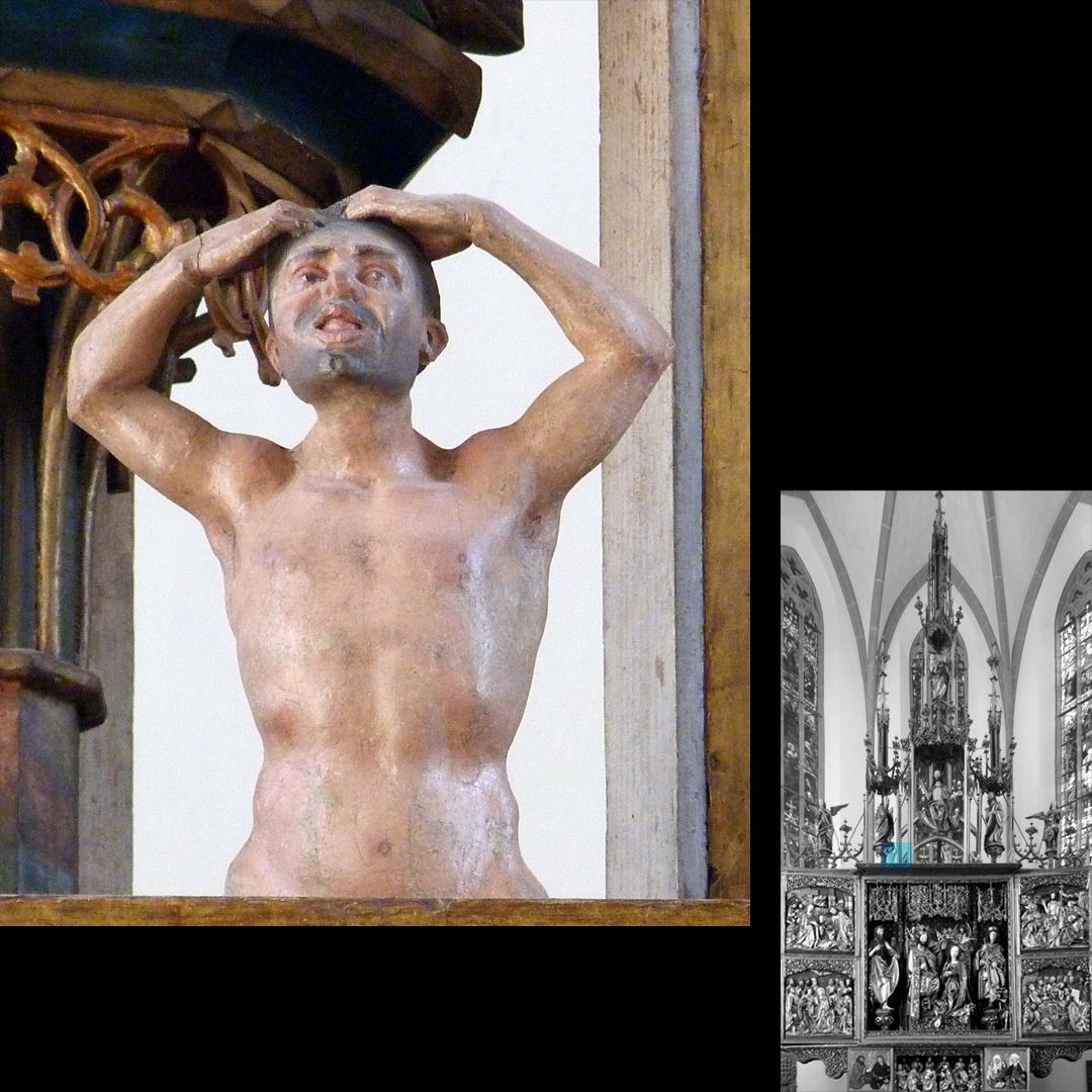 High Altar (Schwabach) Pinnacle decoration, condemned man on the day of doom