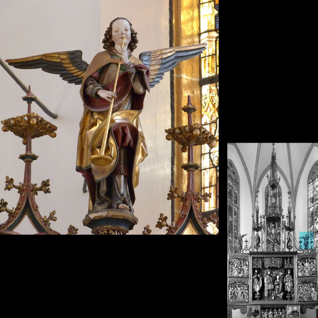 High Altar (Schwabach) Pinnacle decoration, right trumpet angel on the day of doom