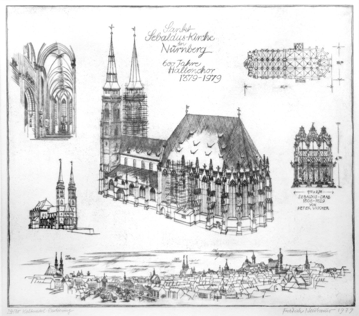 St. Sebaldus-Church in Nuremberg, 600 years hall choir, 1379 - 1979 Total view